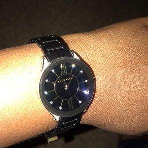 Anne Klein stunning black diamond incrusted watch